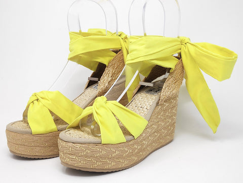 Soles For Change Lemon Yellow 11cm High Wedges Espadrilles