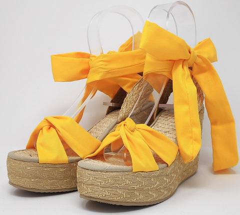 Soles For Change Honey Yellow 11cm High Wedges Espadrilles
