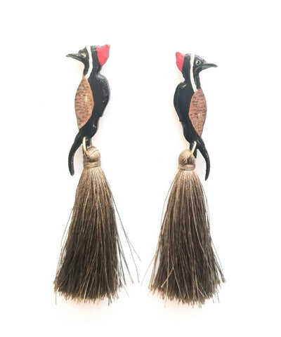 Nuez Moscada: Woodpecker Earrings