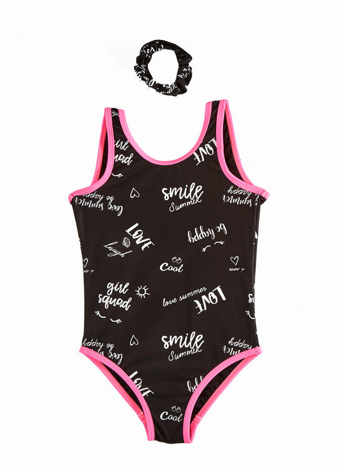 Girls Black One Piece Swimsuit (Age 11-12)