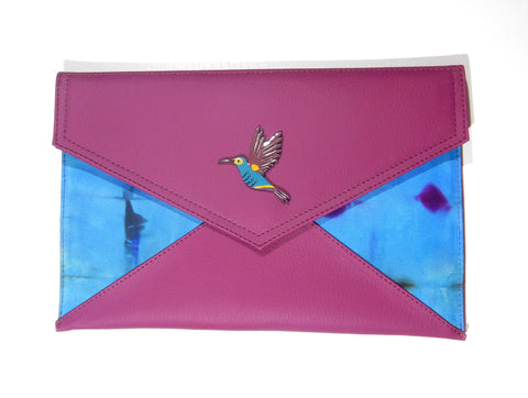 Limited Edition Vegan Leather with Tie dye fabric Humming Bird Clutch and Sling bag