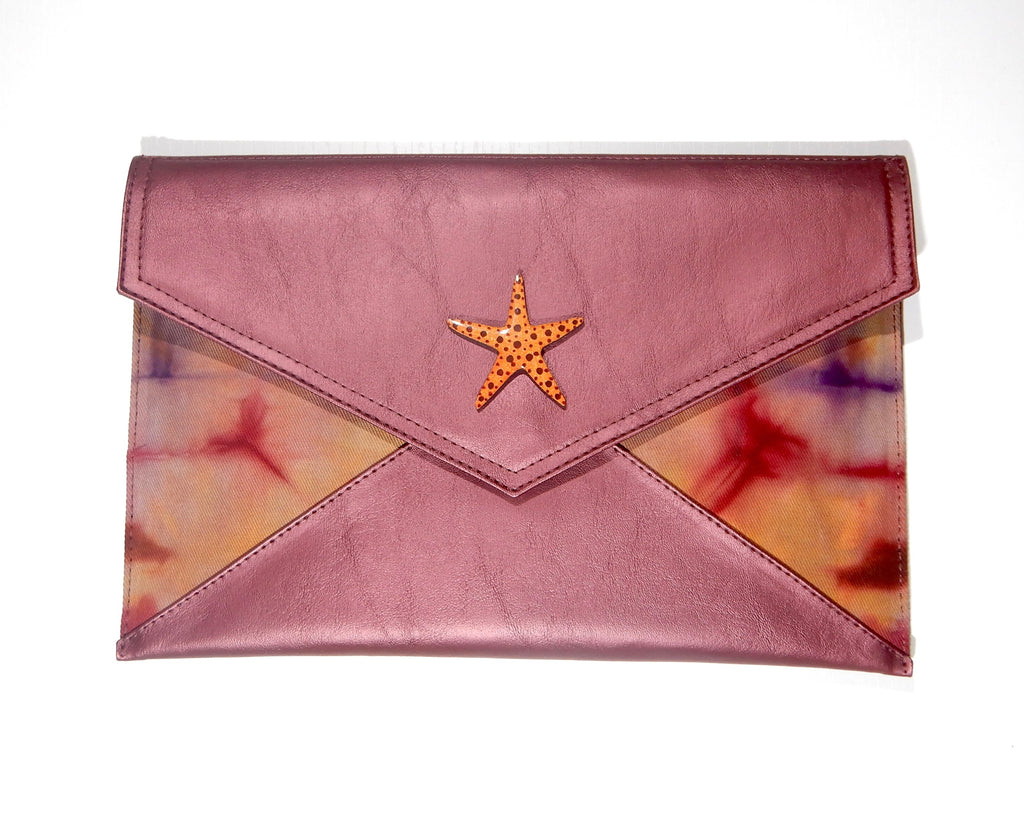 Limited Edition Vegan Leather with Tie dye fabric Starfish Clutch and Sling bag