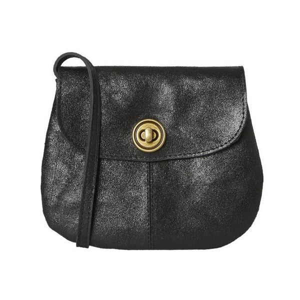 PIECES Totally Royal Leather Party Bag black metallic