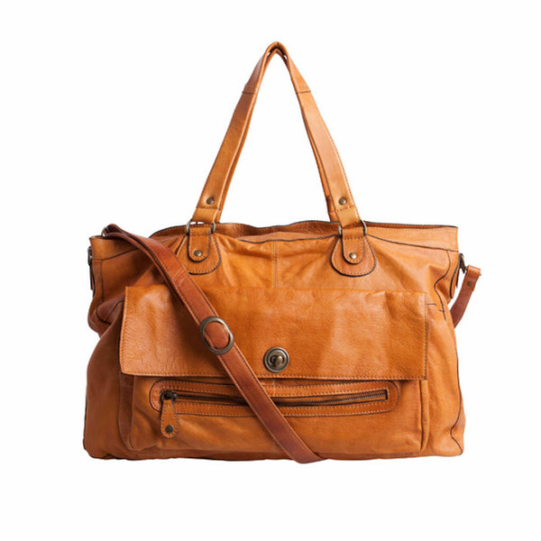 PIECES Totally Royal Leather Travel Bag Noos cognac