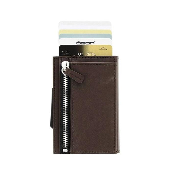 Ögon Cascade Zipper Wallet Dark Brown