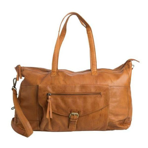 PIECES Totally Royal Leather Travel Bag cognac