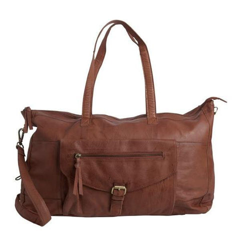 PIECES Totally Royal Leather Travel Bag mokka bruin