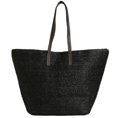 PIECES Ilana Shopper Beach bag zwart - zwarte strandtas