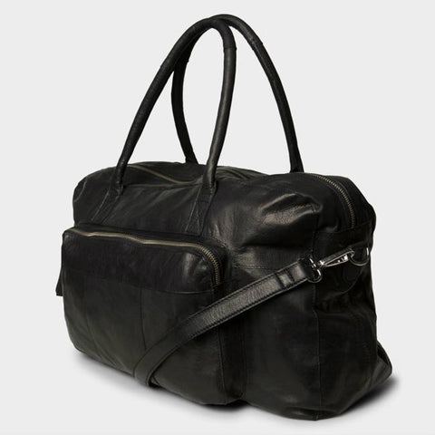 PIECES Allison Leather zwarte weekendtas