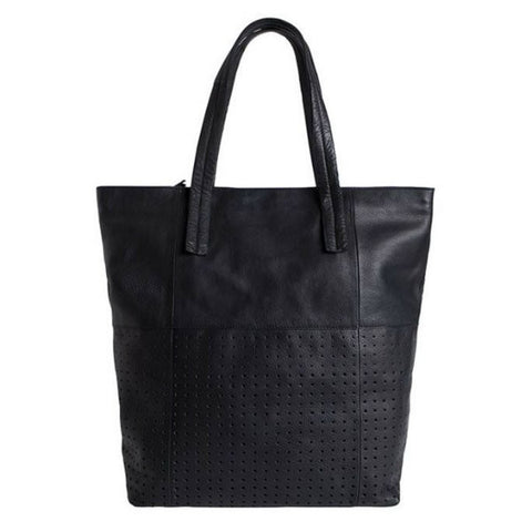 PIECES Laura zwarte lederen shopper