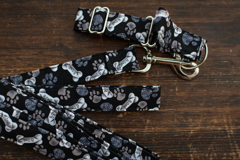 Leash & Collar (Black Bones & Paws)