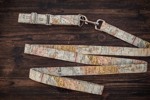 Leash & Collar (Antique Map)