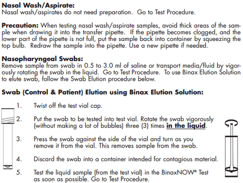 Sample preparation binax now flu test