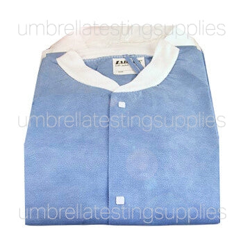 Lab Jacket - Professional Lab Coat, Blue, Knit Fabric with Collar, Repeated Uses