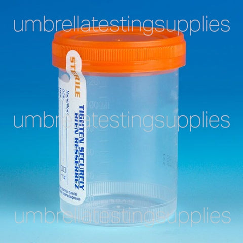 Container: Tite-Rite, 120mL (4oz), PP, STERILE, Attached Orange Screw Cap, ID Label, Graduated, Individually Wrapped