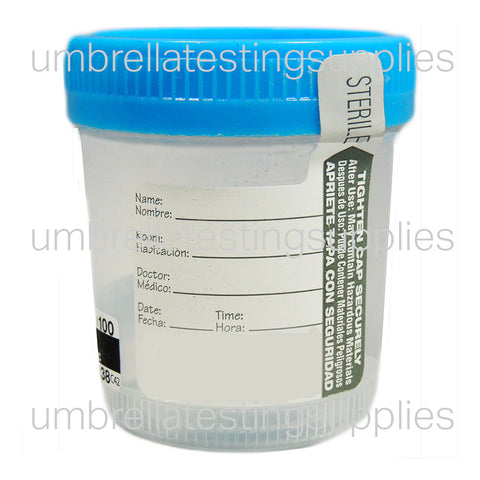 90mL Sterile Collection Cup w/ Temp Strip - Wide
