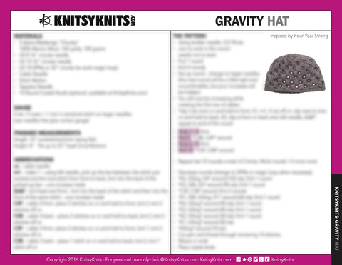 KK Pattern: Gravity Hat