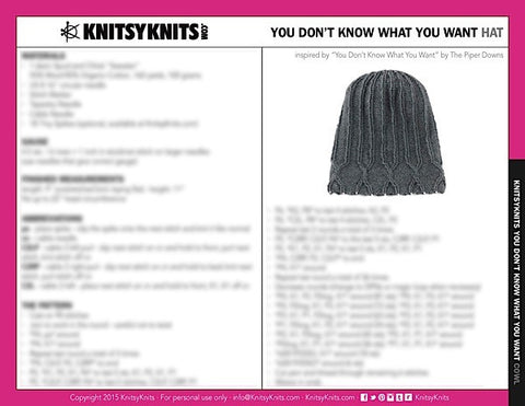 KK Pattern: You Don't Know What You Want Hat