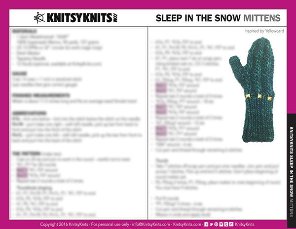 KK Pattern: Sleep in the Snow Mittens
