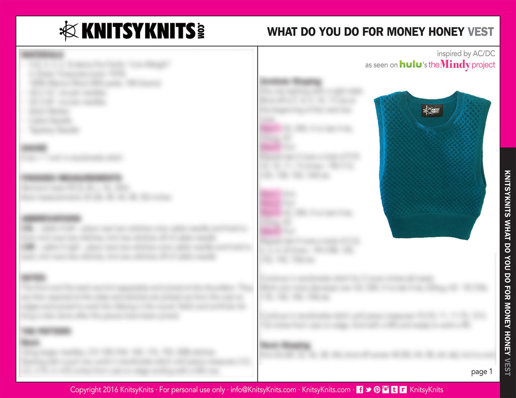KK Pattern: What Do You Do For Money Honey Vest