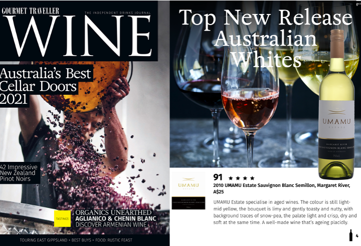 Gourmet Traveller Wine Apr May 2021 features UMAMU SBS 10 as Top New Release
