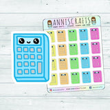 Colorful Calculator Planner Stickers, Maths Calculator Stickers, Kawaii Rainbow Calculator Stickers, Happy Planner, Cute Planner Stickers
