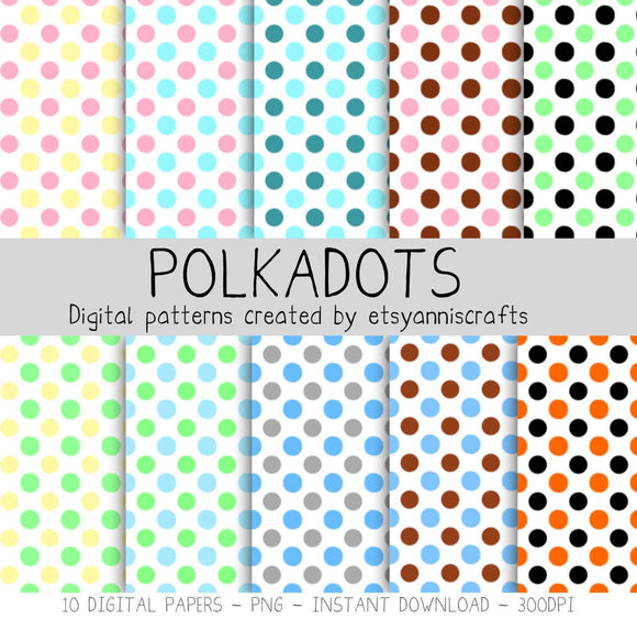 Polka dots Digital Paper Two Colors Blue Commercial Use Patterns Clip Art Instant Download Polkadot Patterns Set Kit Scrapbooking