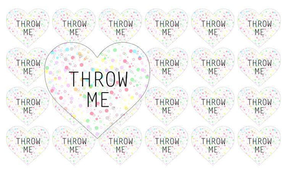 48 Throw Me Heart Confetti Seal Stickers Wedding Favor Bag Party Rainbow Polka Dots Cute Sticker Matte United Kingdom anniscrafts