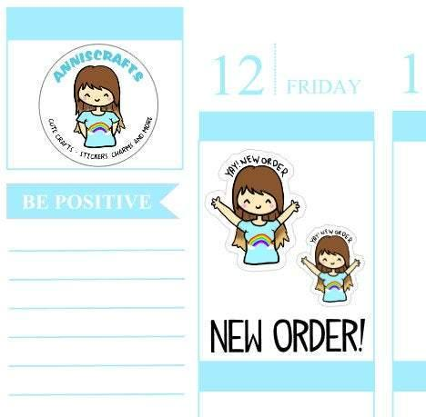 23 NEW ORDER Cha Ching Annika Chibi Planner Stickers Cute Kawaii Etsy Order Cute anniscrafts Yay Happy Planner UK