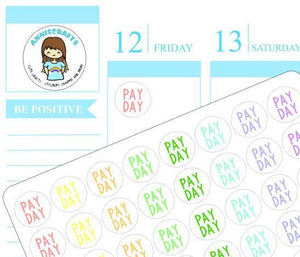 56 Kawaii Pay Day Stickers Planner Small Rainbow Cute Handmade Stickers Erin Condren Kikki K Filofax AC41