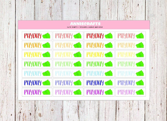 28 RAINBOW Pay Day Planner Stickers Dollar Happy Planner Colorful Rainbow Planner Stickers Payday Stickers Erin Condren Header Stickers