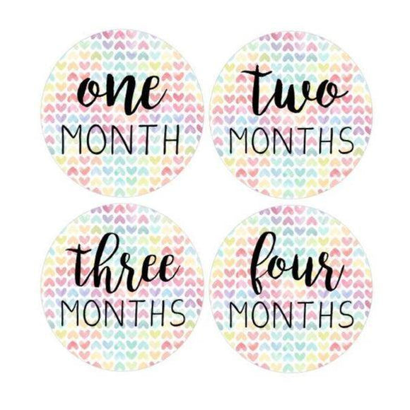 12 MONTHS Baby Stickers Milestone Clothing Rainbow Baby One To Just Born One-Piece Stickers Baby Shower Gift Stickers