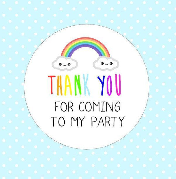 Rainbow Thank You For Coming To My Birthday Stickers Party Bag Stickers Birthday Party Stickers Party Packaging Kawaii Goodie Bag Stickers
