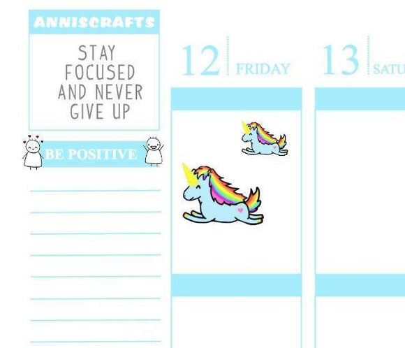 23 UNICORN Jumping Rainbow Happy Planner Kawaii Unicorn Stickers Cute Colorful Erin Condren Stickers
