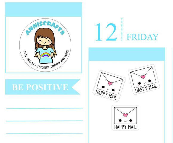 27 HAPPY MAIL Envelope Planner Stickers Kawaii Cute Envelope Happy Mail Planner Stickers Packaging Order Post Office Stickers anniscrafts UK