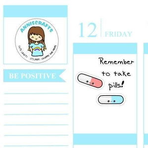 72 Medicine Pill Planner Stickers Vitamin Take Medication Cute Kawaii Happy Pill Planner Reminder Prescription Health Stickers AC26