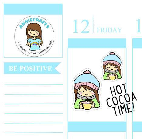 23 HOT CHOCOLATE Cocoa Annika Chibi Planner Stickers Cute Cozy Drink Hot Chocolate Stickers Happy Planner anniscrafts UK stickers