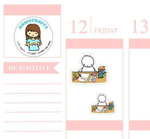 20 STUDY Work Planner Stickers Books Studying Working Planner Chibi Stickers Cute Busy Day Planner Stickers anniscrafts UK