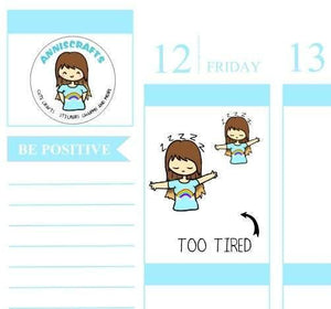 23 TIRED SLEEPY Annika Chibi Planner Stickers Happy Planner Kawaii Character Stickers Erin Condren Kikki K Filofax Cute anniscrafts UK