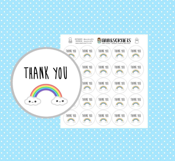 25 Kawaii Rainbow Thank You Stickers Purchase Order Mailing Business Stickers Packaging Labels Kawaii Stickers UK Seller AC287