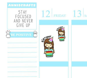 23 BIRTHDAY Annika Chibi Happy Birthday Planner Stickers Chibi Cute Cake Hat Kawaii Cute Erin Condren Stickers