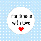 Handmade With Love Stickers Small Business Stickers Round Heart Made With Love Packaging Gift Wrapping Present Stickers AC36