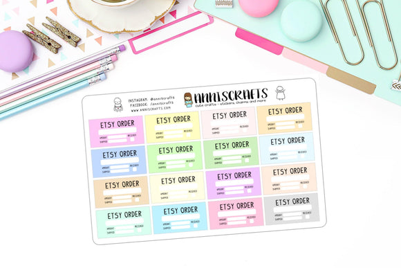 Etsy Order Planner Stickers Shipping Received Colorful Rainbow Happy Planner Stickers Order Tracker