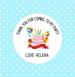 30 Birthday Cake Party Stickers Thank You For Coming To My Party Stickers Goodie Bag Gift Present Seal Stickers