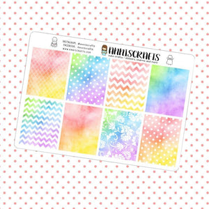 Bright Summer Color Patterned Full Box Planner Stickers Erin Condren Watercolor Box Stickers UK Seller Polka Dot Stripe Stickers