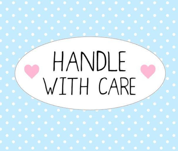 Handle With Care Stickers Oval Packaging Envelope Order Stickers Heart Pink Cute Packaging Stickers UK Seller