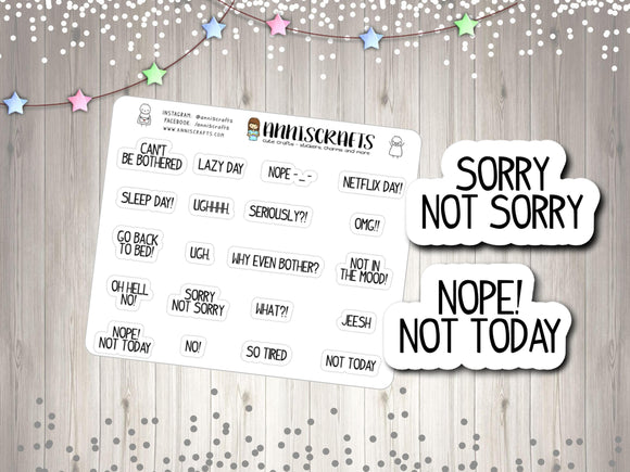 20 Bad Mood Planner Stickers Bad Day Mood Angry Text Planner Stickers Happy Planner Erin Condren Stickers