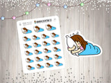 Sleeping Chibi Planner Stickers Bed Time Planner Stickers Happy Planner Kawaii Cute Chibi Stickers Sleep Stickers UK Seller