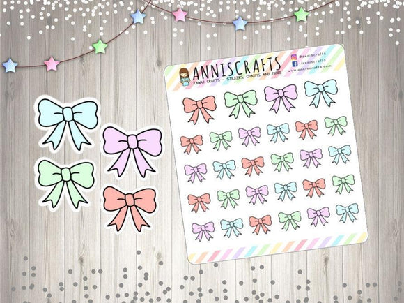 Pastel Colored Bow Stickers Planner Stickers Pastel Bow Stickers Cute Kawaii Bows Hand Drawn Stickers UK Seller