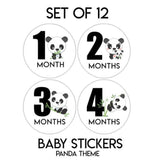 12 Months Panda Baby Clothes Stickers Milestone Age Monthly Baby Stickers One Suit Stickers Panda Theme Cute Baby Sticker Baby Shower Gift